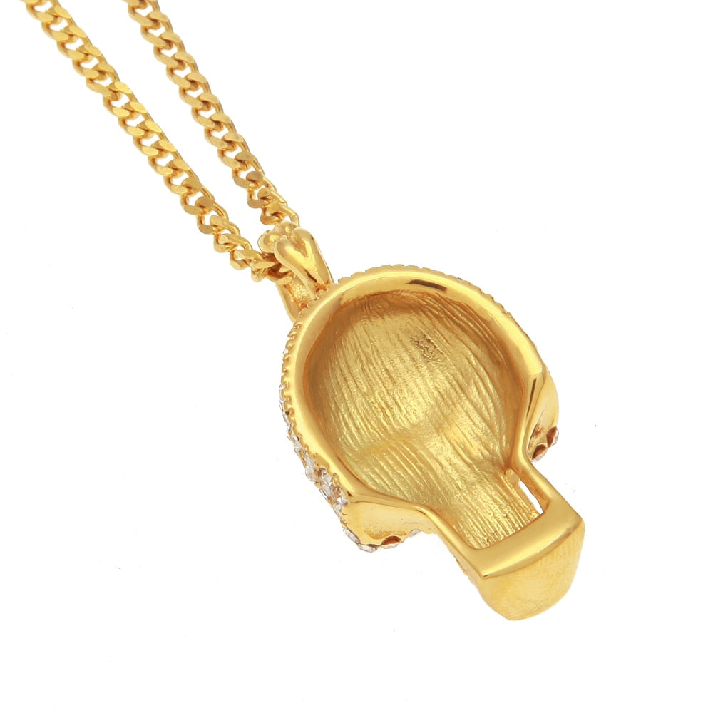 Iced Out Skull Pendant with Link Chain Necklace - eCasaMart