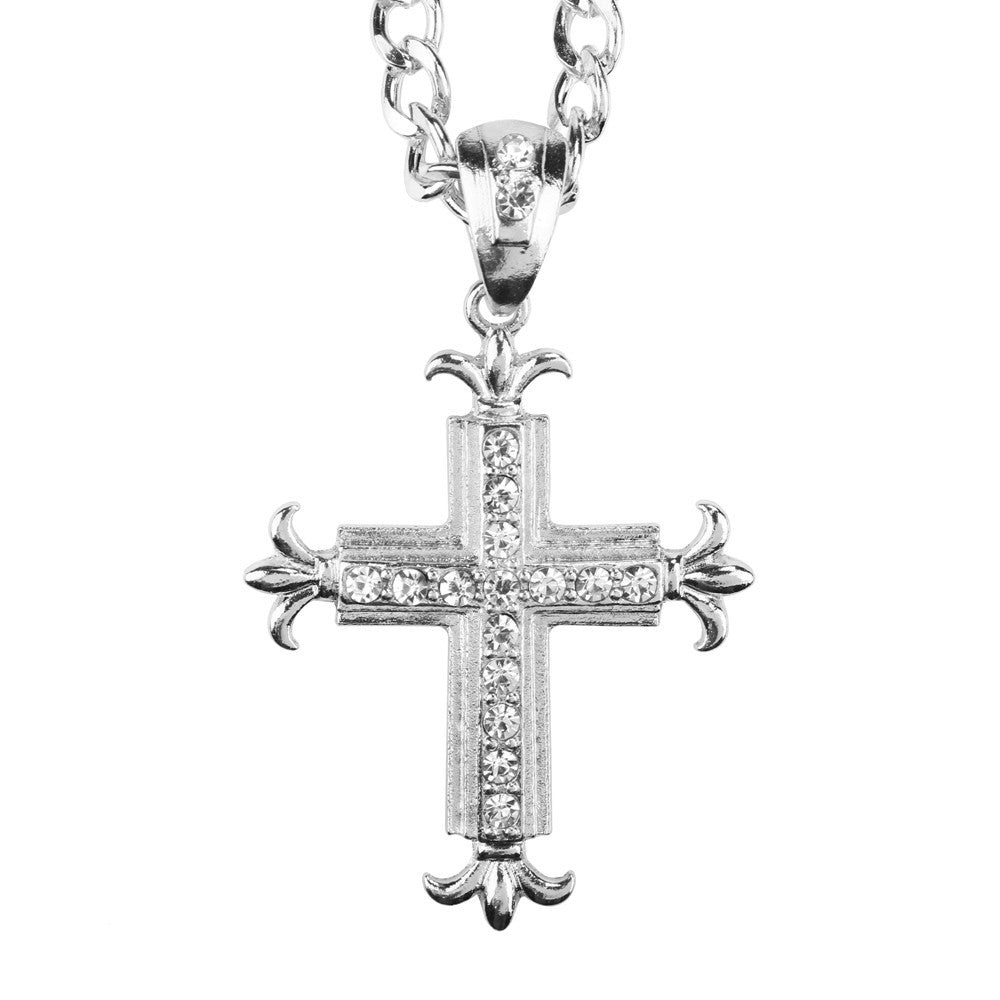 Cuban Silver Necklace with Iced Out Cross Pendant - eCasaMart