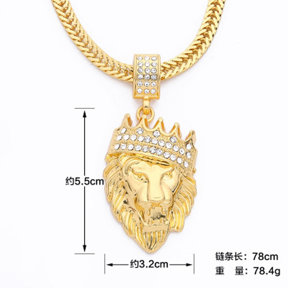 Iced Out Crown Lion Pendant Cuban Chain Necklace - eCasaMart