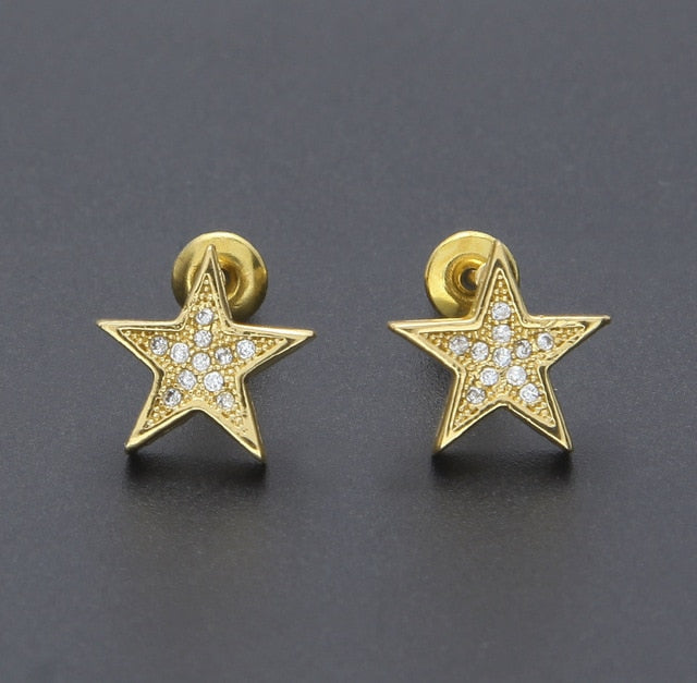 Iced Out Pentagram Earrings - eCasaMart