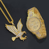 Iced Out Eagle Pendant Necklace & Watch Set - eCasaMart