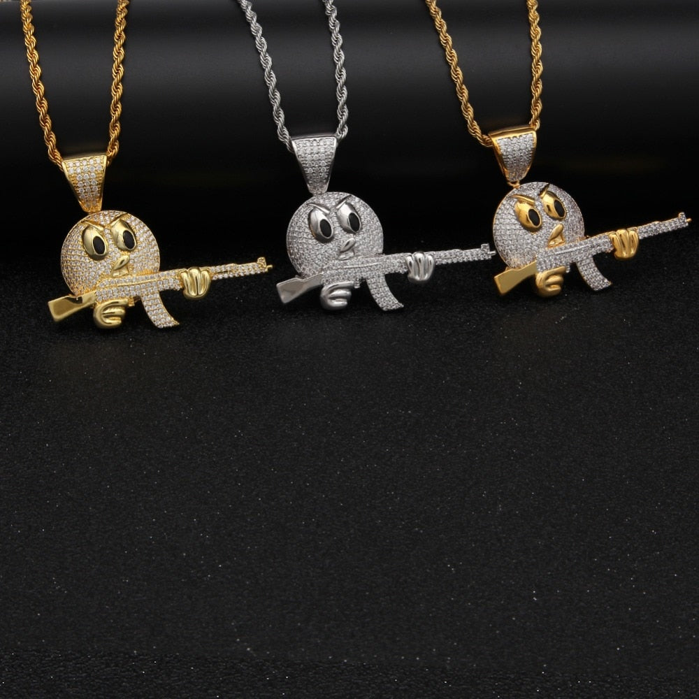 Iced Out Emoji Face Pendant Necklace - eCasaMart