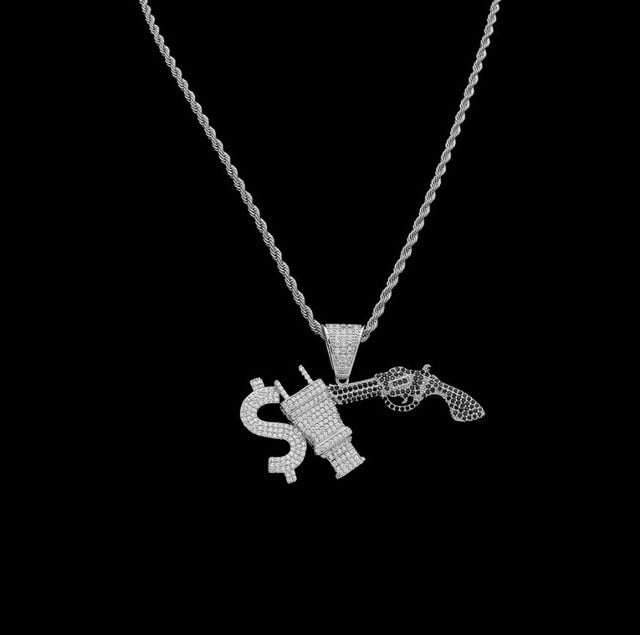 Iced Out Dollar Plug & Gun Pendant with Necklace - eCasaMart