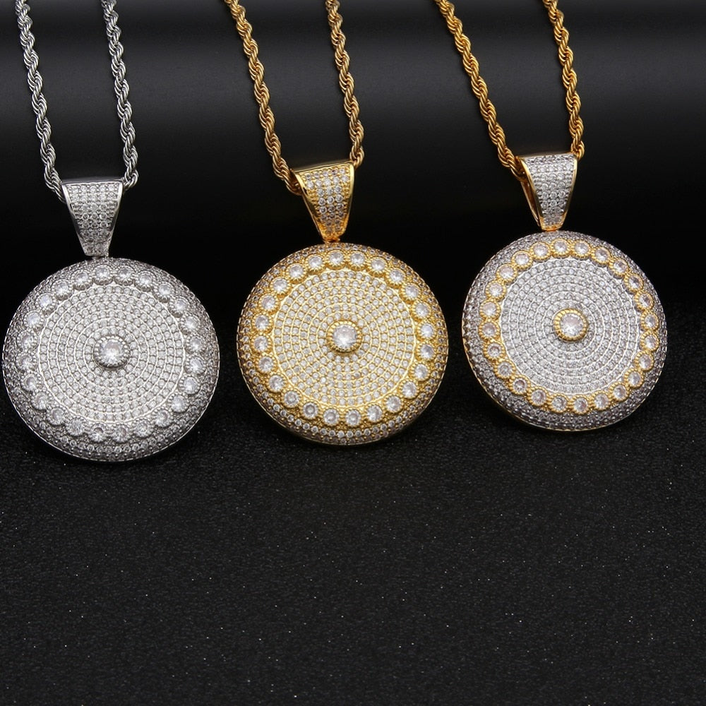 Iced Out Round Pendant Necklace - eCasaMart