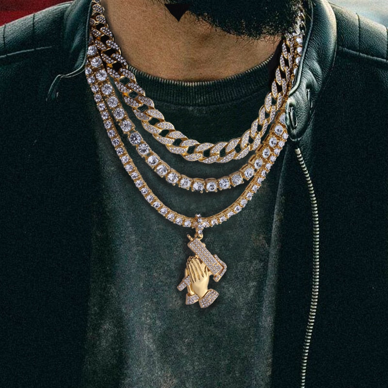 Iced Out Choker + Iced Out Cuban Chain + Tennis Chain & Pendant - eCasaMart