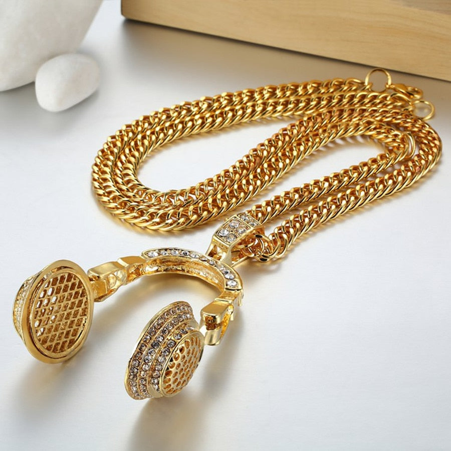 Iced Out Headset Pendant with gold plated Necklace. - eCasaMart