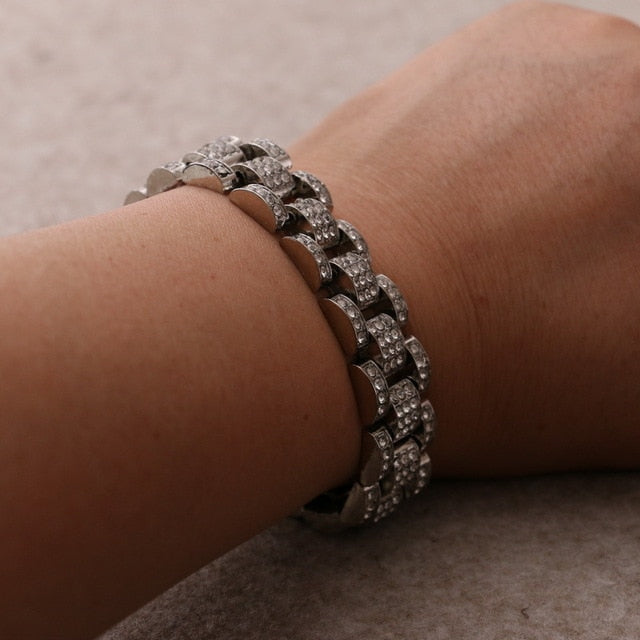 Iced Out Luxury Rhinestone Watchband Bracelet - eCasaMart