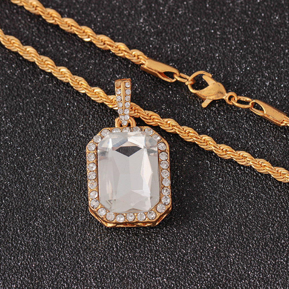 Iced Out Rhinestone Pendant & Necklace - eCasaMart