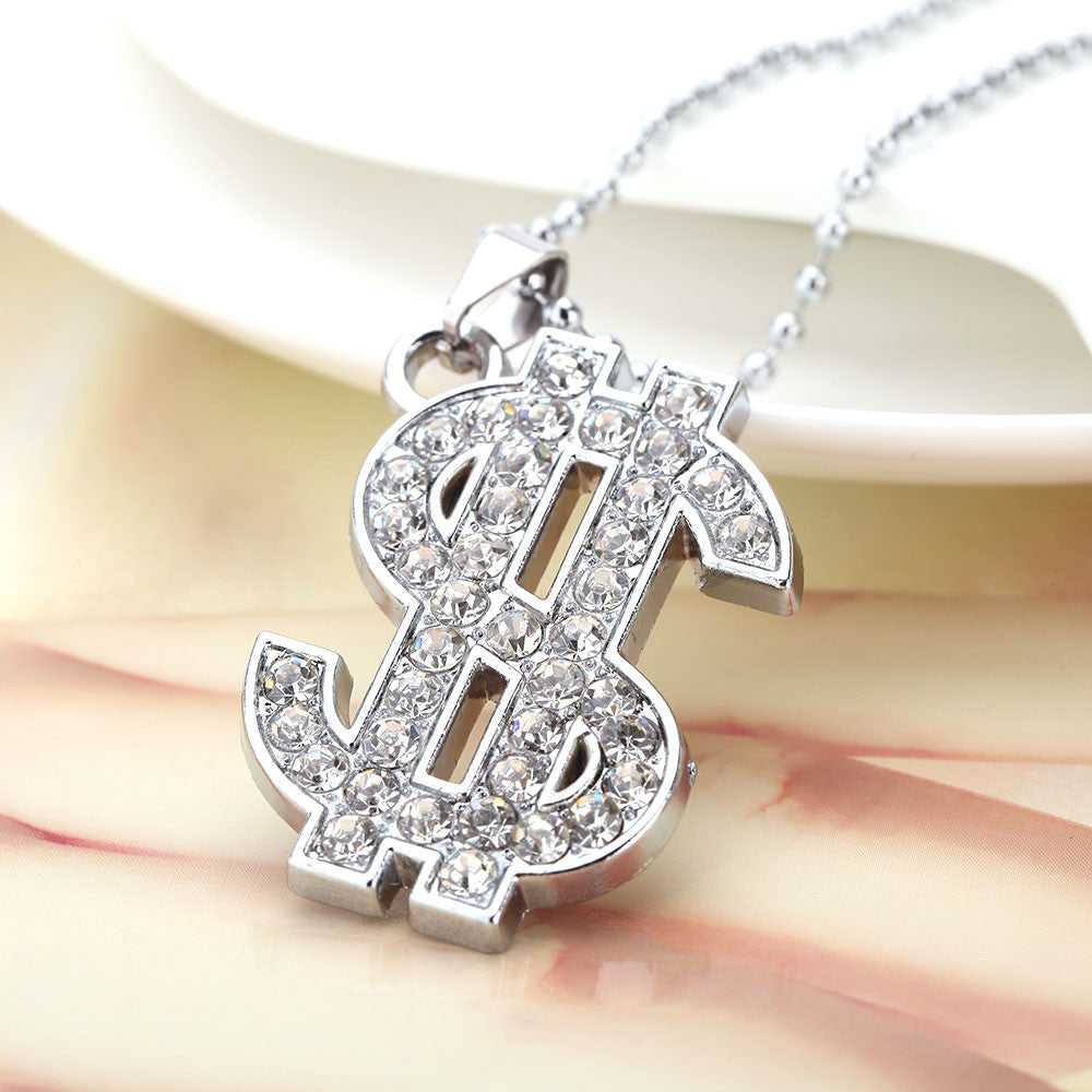 Iced Out US Dollar Pendant Necklace - eCasaMart