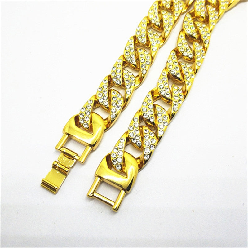 Full Iced Out Rhinestone Gold Plated Cuban Link Chain - eCasaMart