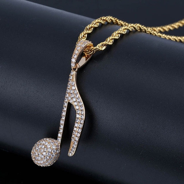 Iced Out Music Note Pendant Necklace with Rope Chain - eCasaMart