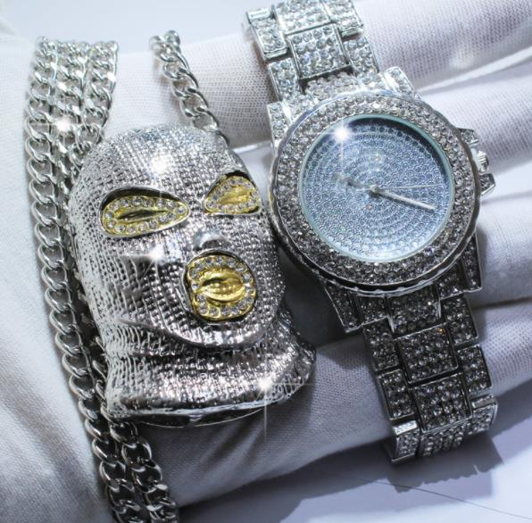 Full Iced Out CZ Watch & Mask Pendant Necklace Set - eCasaMart