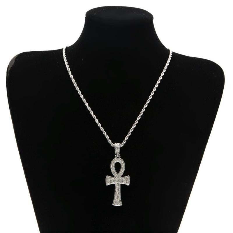 Iced Out Ankh Cross Pendant Necklace - eCasaMart