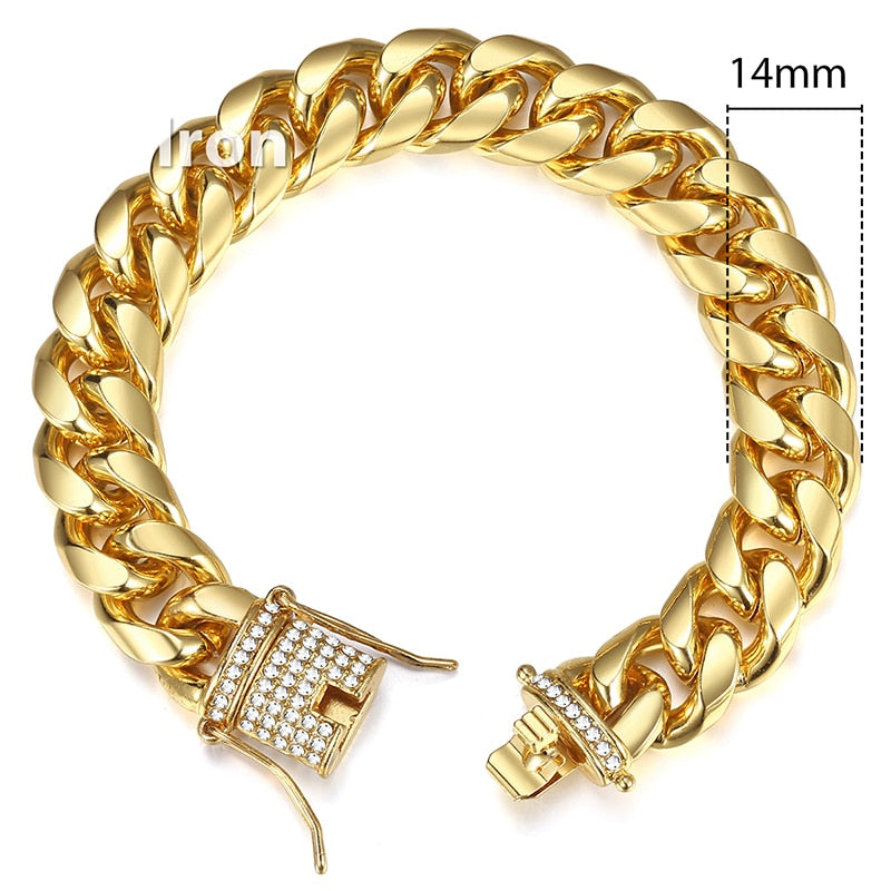 Iced Out Cuban Link Chain Bracelet - eCasaMart
