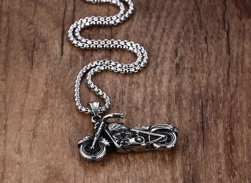 Vintage Gothic Stainless Steel Rider Pendant with Chain - eCasaMart