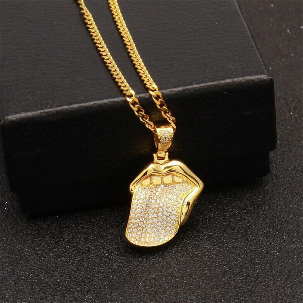 Iced Out Hip Hop tongue Pendant Necklace - eCasaMart
