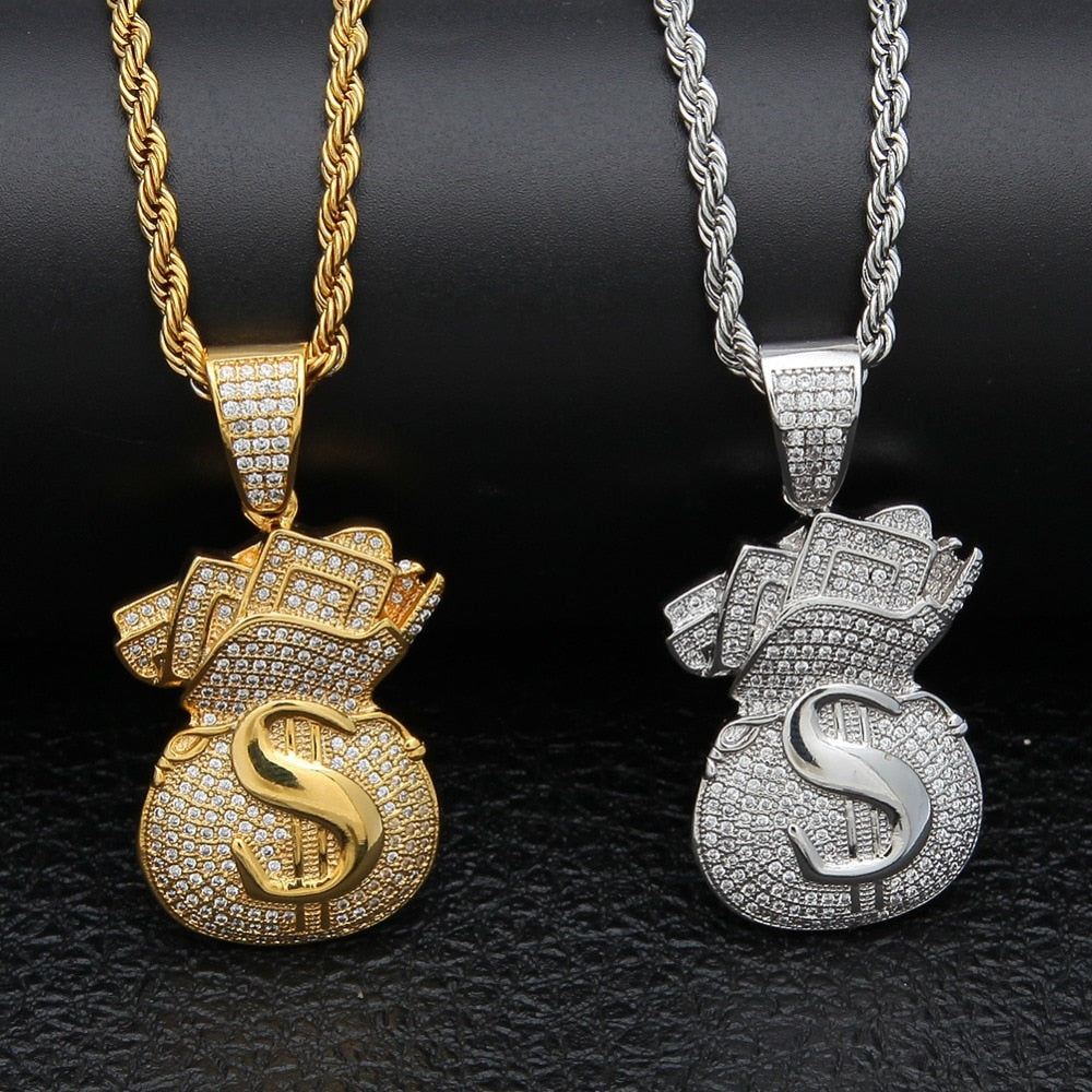 Iced Out Money Bag Pendant with Necklace - eCasaMart