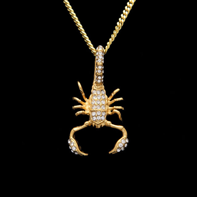 Iced Stainless Steel Scorpion Pendant & Necklace - eCasaMart