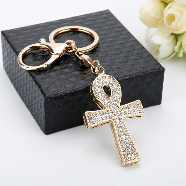 Iced Out Ankh Cross Charm Keychain - eCasaMart