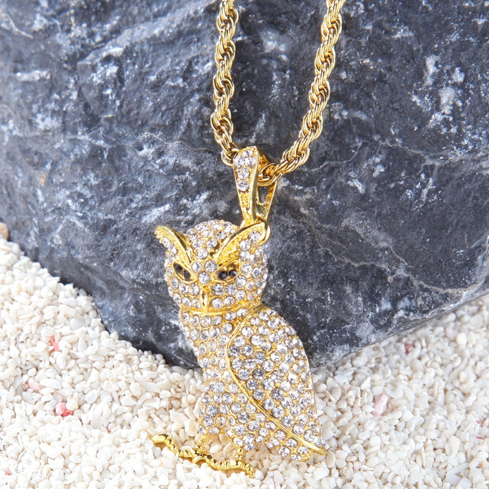 Iced Out Owl Pendant Necklace - eCasaMart