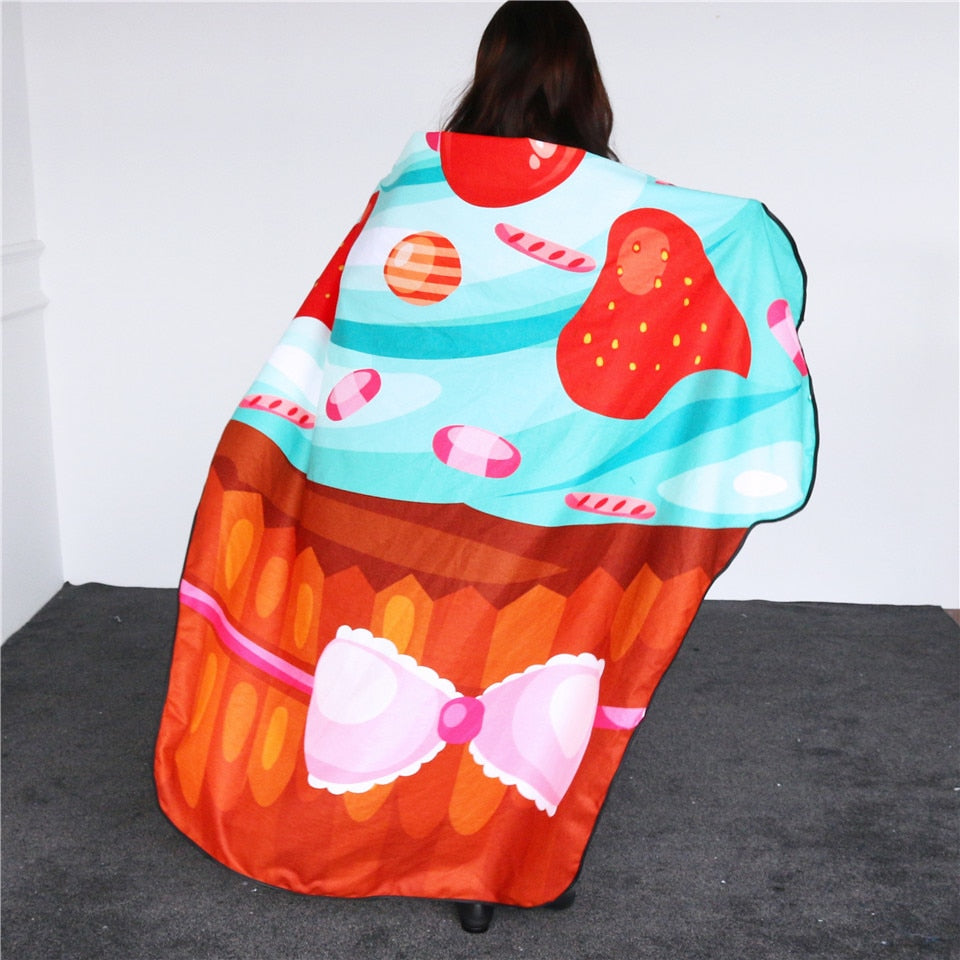 Strawberry Cake Shaped Irregular Beach Towel - eCasaMart