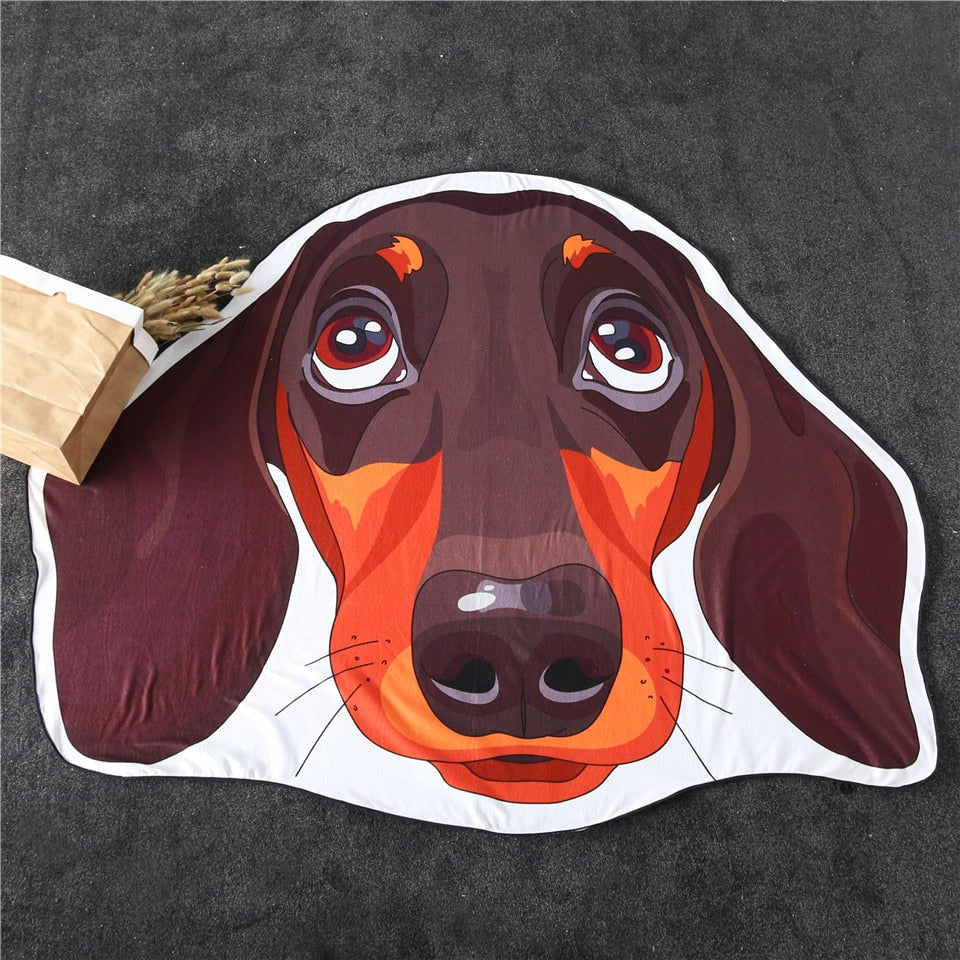 Skin Friendly Micro Fiber Irregular Beach Towel - Bull Dog / Dachshund - eCasaMart