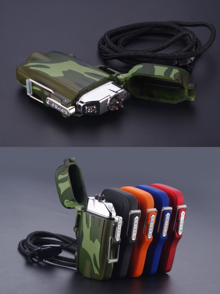 Waterproof/Windproof Military Survival Lighter - Dual Arc Technology - eCasaMart