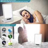Aourow Daylight Lamp LED 10000 Lux with 9 Brightness Levels,Simulates Sunlight,Compensation for Lack of Light,Against Winter Depression,Aourow portable LED daylight Lamp With Light Alarm and Built-in Battery.White and Blue
