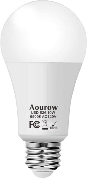 Aourow 10W LED Bulb 75 Watt Equivalent, Daylight White (6500K),A19 No-Dimmable, Medium Screw Base,1 Pack