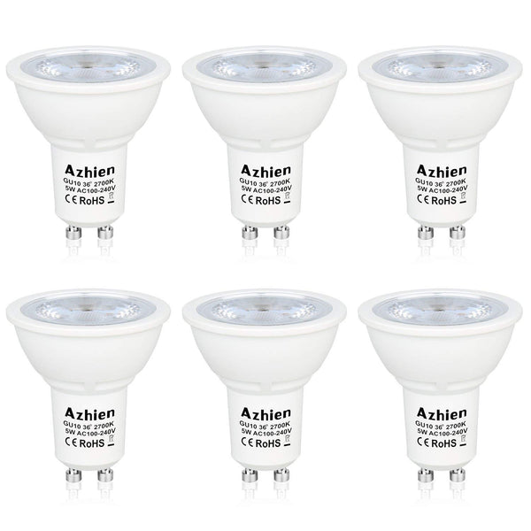 Aourow  GU10 LED Bulb Dimmable 7W Lights 230V AC, 50W Halogen Light Equivalent,560LM,36°Angle, Warm White 2700K, 220V-240Vac,Standard Size, Recessed lighting, Spotlights, Pack of 6 Units