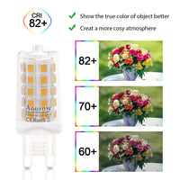 Aourow  G9 LED Bulb,Warm White 2700K,Aourow 4W 450LM (Equivalent to 28W,33W,40W Halogen bulbs),Non Dimmable,Pack of 5