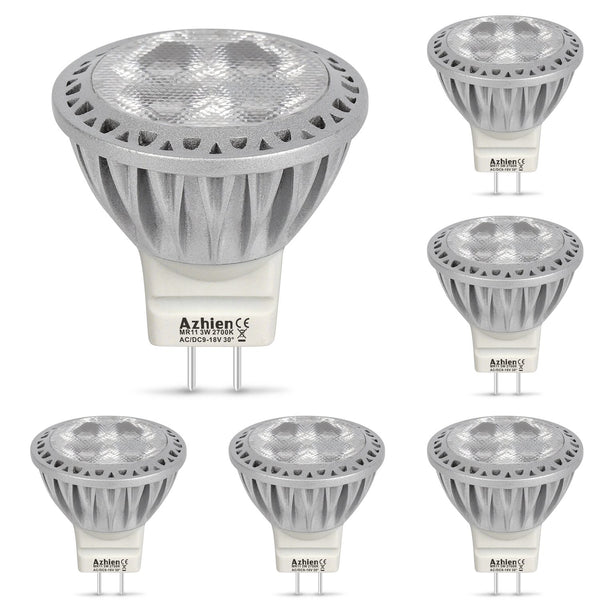 Aourow GU4 MR11 LED Bulbs 12V Warm White 3W Replaced 35W Halogen Spotlight Bulb 2700K Soft White 250 Lumen 30 Degree Beam Angle Lamps pack of 6