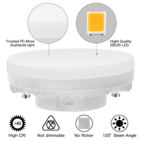Aourow GX53 LED Bulb Lamp 7W Warm White Non Dimmable Aourow,No Flicker, Under Cabinet Lighting,Replace 50W GX 53 Halogen or CFL GX53 Bulbs,560Lumens, 3000K, 120 Deg Angle,Light Bulb GX53 , Pack of 4 [Energy Class A+]