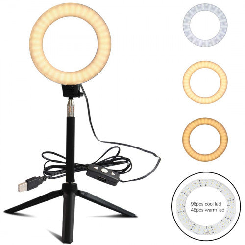 Aourow LED Ring Light with Stretchable Tripod Stand Selfie Stick,6-inch Ring Light Dimmable Floor/Table Annular Lamp for Selfie, Makeup, Live Stream, YouTube, Vlog, USB Plug
