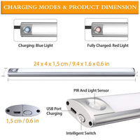 Aourow LED Under Cabinet Lighting USB Rechargeable 33-LED Motion Sensor Closet Light Wireless Under Cabinet Light,240mm Bar, 4 Sensor Modes, Portable for Closet, Cabinet, Wardrobe
