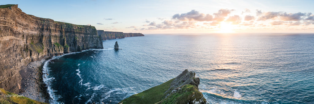 Ireland Sunset Cliffs of Moher Landscape Pano Travel Photography