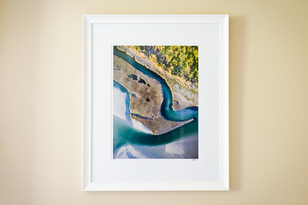 "Cate Brown Photo The Narrows Aerial #1 // Framed Fine Art 20x26"" // Limited Edition 1 of 150 Available Inventory Ocean Fine Art"