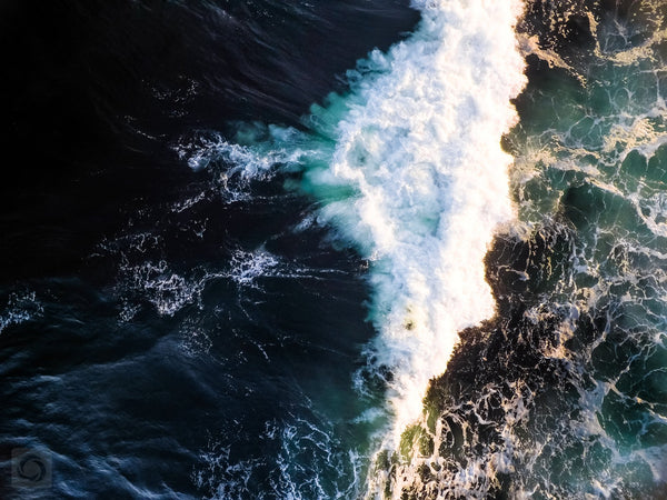 Cate Brown Photo Beavertail Waves #1  //  Aerial Photography Made to Order Ocean Fine Art
