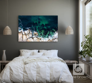 "Cate Brown Photo Canvas / 16""x24"" / None (Print Only) Beavertail #8  //  Aerial Photography Made to Order Ocean Fine Art"