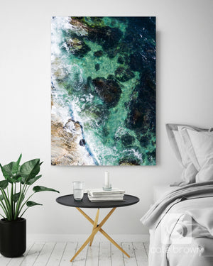 "Cate Brown Photo Canvas / 20""x30"" / None (Print Only) Beavertail #10  //  Aerial Photography Made to Order Ocean Fine Art"