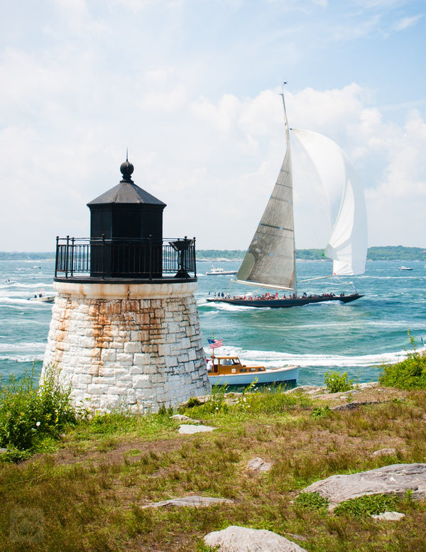 Cate Brown Photo J Class at Castle Hill Light  //  Nautical Photography Made to Order Ocean Fine Art