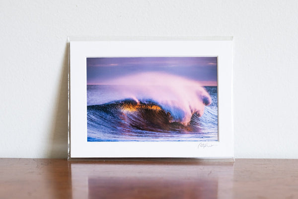 "Cate Brown Photo Purple Waves of Gold // Matted Mini Print 5x7"" Available Inventory Ocean Fine Art"