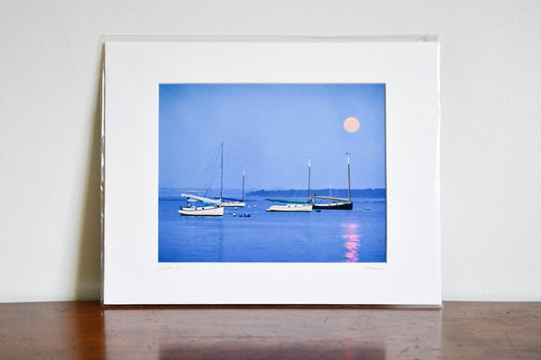 "Cate Brown Photo Moonrise Over Catboat Alley // Matted Mini Print 11x14"" Available Inventory Ocean Fine Art"