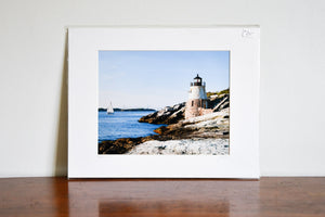 "Cate Brown Photo Castle Hill Light in the Sun // Matted Mini Print 11x14"" Available Inventory Ocean Fine Art"