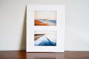 "Cate Brown Photo Beach Diptych // Matted Mini Print 11x14"" Available Inventory Ocean Fine Art"