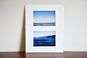"Cate Brown Photo Blue Ocean Diptych // Matted Mini Print 11x14"" Available Inventory Ocean Fine Art"