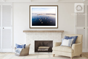 Cate Brown Photo Newport Harbor at Sunrise  //  Aerial Photography Made to Order Ocean Fine Art