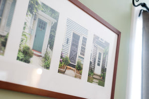"Cate Brown Photo Wickford Doors in Summer #2 // Framed Fine Art Collage 13x30"" // Open Edition Available Inventory Ocean Fine Art"