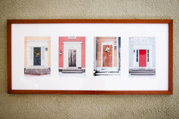 "Cate Brown Photo Wickford Doors in Winter #1 // Framed Fine Art Collage 13x30"" // Open Edition Available Inventory Ocean Fine Art"