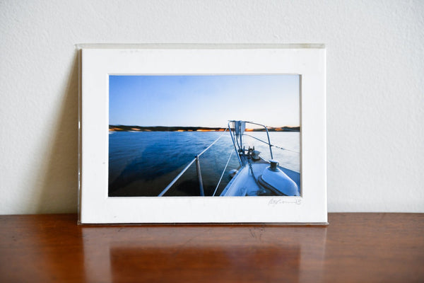 "Cate Brown Photo Moored at Dusk // Matted Mini Print 5x7"" Available Inventory Ocean Fine Art"